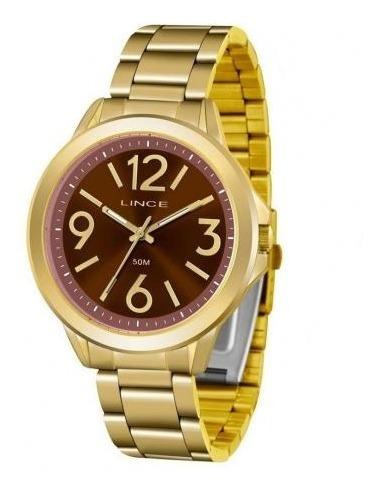 Relógio Lince Dourado Original Novo