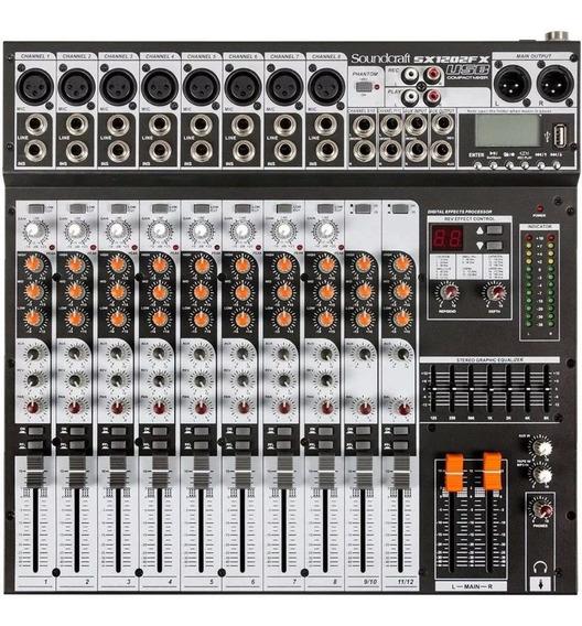 Mesa De Som Soundcraft Sx1202 Fx 12 Canais Usb Sx1202fx
