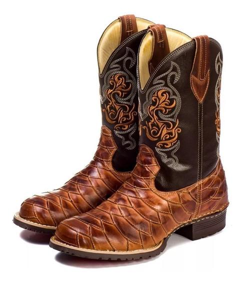 Bota Masculina Texana Escamada 100% Couro Bico Quadrado