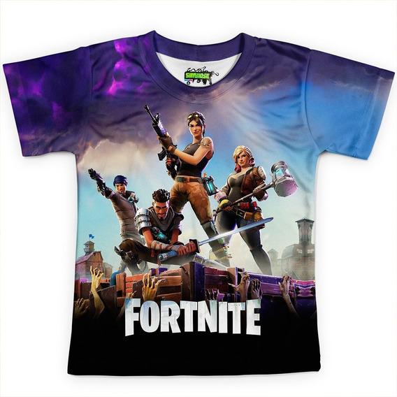 Camiseta Infantil Jogo Fortnite Camisa Full Print Hd Md01