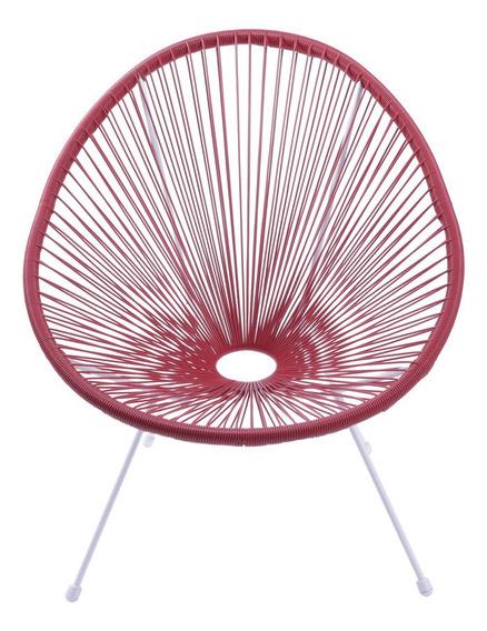 Cadeira Acapulco Cordas Pvc 69x50x85cm Vermelho