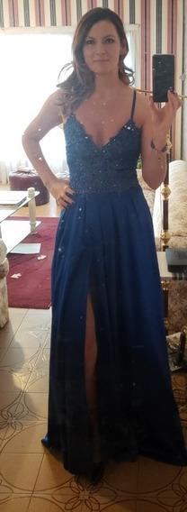 Vestido De Fiesta Largo Azul Francia De Natalia Antolin