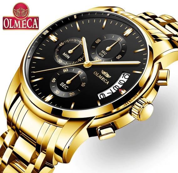 Relógio Dourado Casual Cronógrafo Original Olmeca