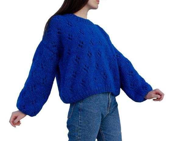 Sweater Olivia Azul Francia Mujer Tejido A Mano
