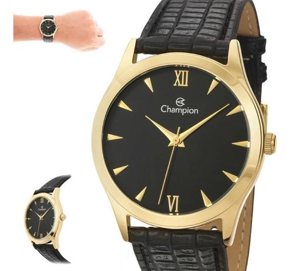 Relógio Feminino Champion Pulseira Couro Preto Ch22742p