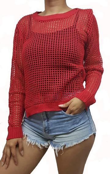 Sweater Calado Algodon Liso Importado Para Mujer