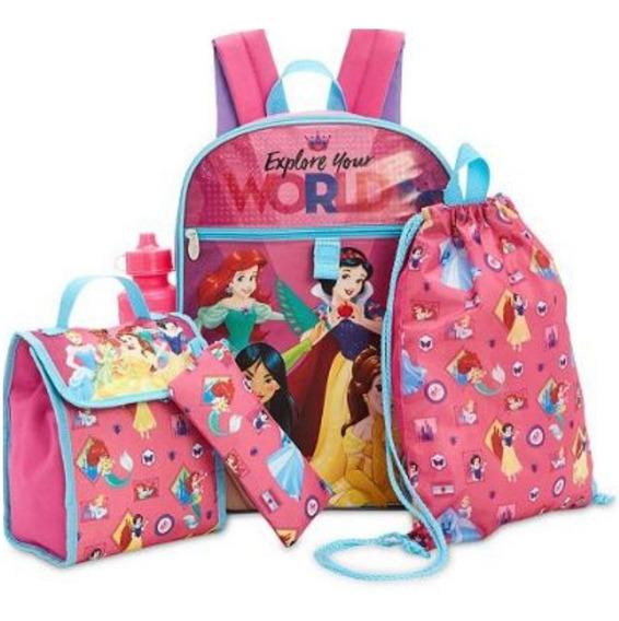 Mochila Princesas Infantil Menina Disney Original Kit 5 Pç