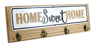 Porta Chaves Home Sweet Home 4 Ganchos Madeira Natural