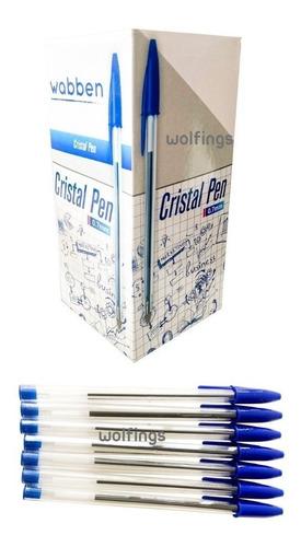 Caja X50 Lapicera Birome Tinta Azul Cristal Pen Punta Fina