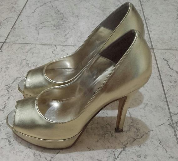 Zapatos Dorados De Cuero N 36 Marca Briganti