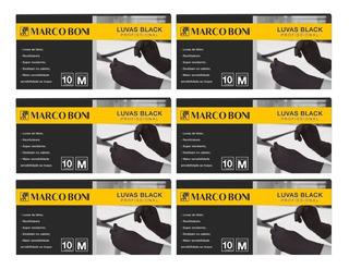Kit Com 60 Luvas Black Profissional Tam. M Latex Marco Boni