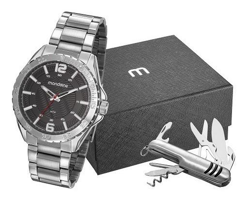 Relógio Mondaine Masculino Analógico Prata Aço + Canivete