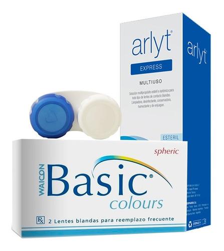 Lentes De Contacto Basic Colours Waicon + Liquido + Estuche