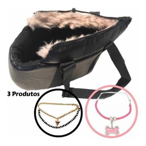 Bolsa Transporte Preta Cachorro Pequeno Gato Pet E 2 Colares