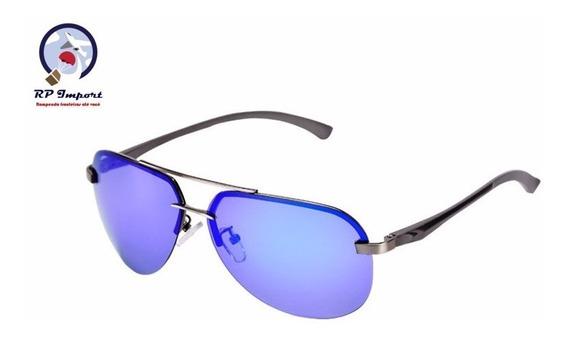 Óculos De Sol Lopert Aviador Azul Preto Laranja Polarizada