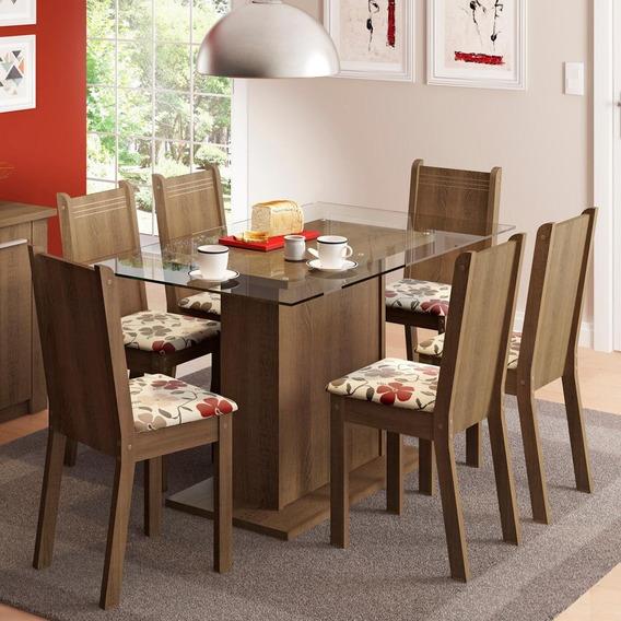 Sala De Jantar Madesa Gales Mesa Tampo De Vidro 6 Cadeiras