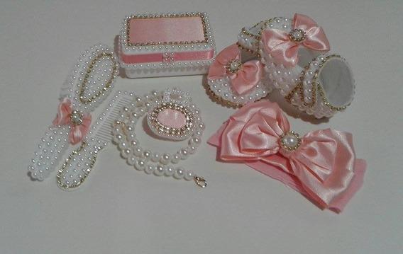 Kit Customizado Saida Maternidade Menina De Perola Rosa