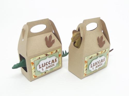 Imagem 1 de 4 de Kit Lembrancinha Dinossauro Na Sacolinha Kraft - 10 Kits
