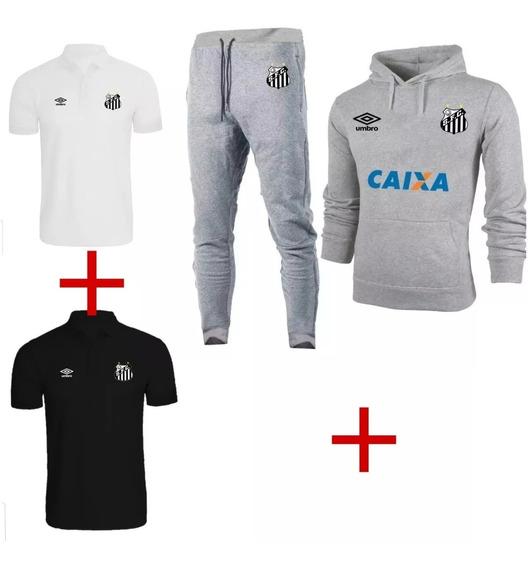 Kit Blusa Frio+2 Camisa Polo+calça+ Santos Fc