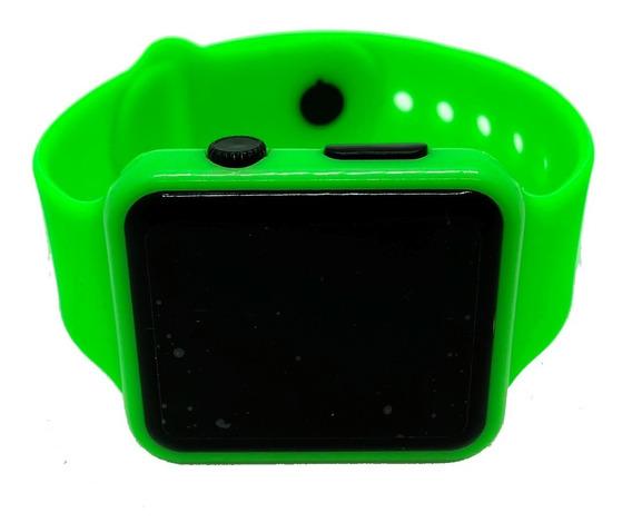 Reloj Led De Silicon Tipo Apple Watch Niños Y Adultos Verde