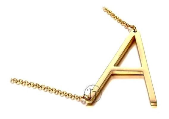 Collar Titanio Yellow Gold Plating 18k Letra J - I