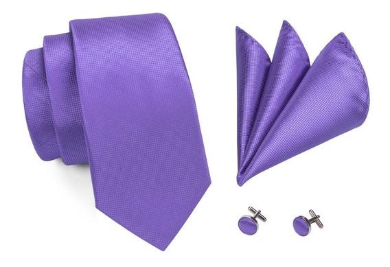 416 Corbata Seda Jacquard Pañuelo Mancuernillas - Violeta