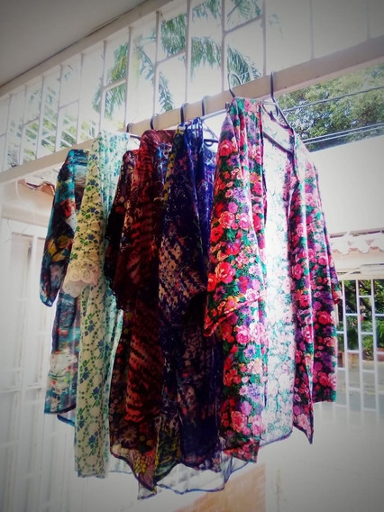 Kimono En Velo Estampado Varios Colores Talla Única