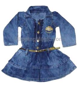 Vestido Jeans Criança Meninas Babado Menor Valor