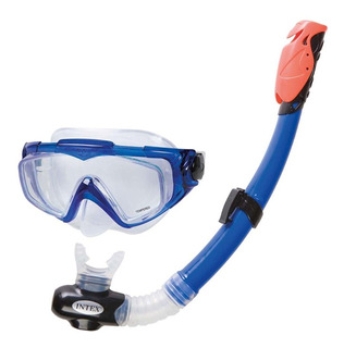 Set Snorkel Tubo + Mascara Buceo Azul Silicone Piscina Intex