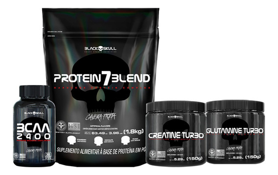 Kit Protein 7 Blend + Bcaa + Creatina Glutamina Black Skull