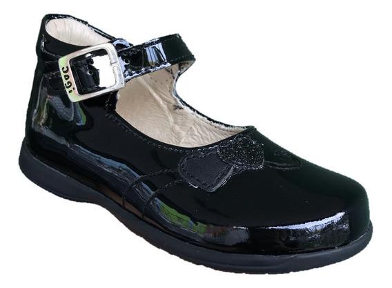 Zapato Bota Dogi E-8701 Niña Negro Charol Piel