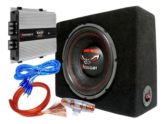 Combo Subwoofer Bicho Papao 12 400w Caja Slim Potencia Kit