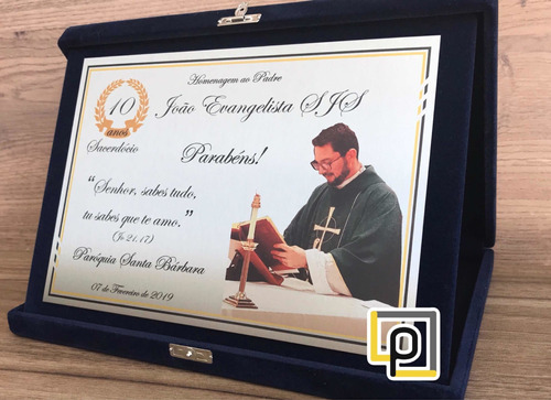 Placa Homenagem Padre, Pastor, Diácono, Médico