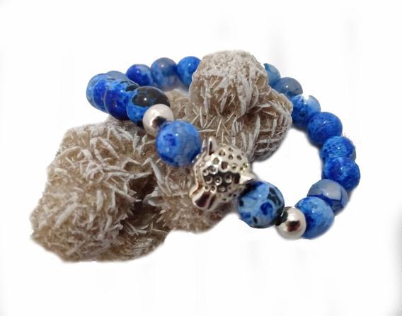 Pulsera Lapis Lazuli Con Dije De Leopardo Plata