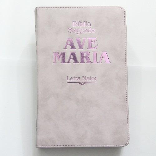 Bíblia Sagrada Ave Maria Rosa Letra Maior Zíper Grande