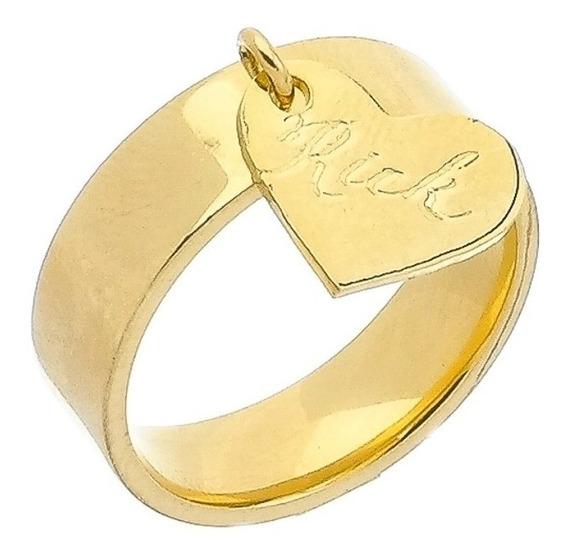 Anel Com Coração Gravado Folheado A Ouro 18 K