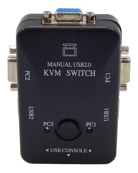 Chaveador Kvm Usb 2 Portas P/ Ligar Pcs A 1 Monitor Barato