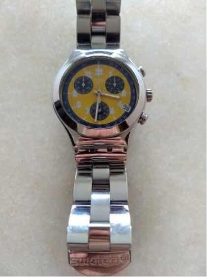 Swatch Chrono Irony Inox Swiss Quartz Relógio 100% Original