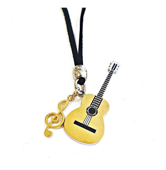 Colar Masculino Couro Violão Dourado Clave De Sol Musica
