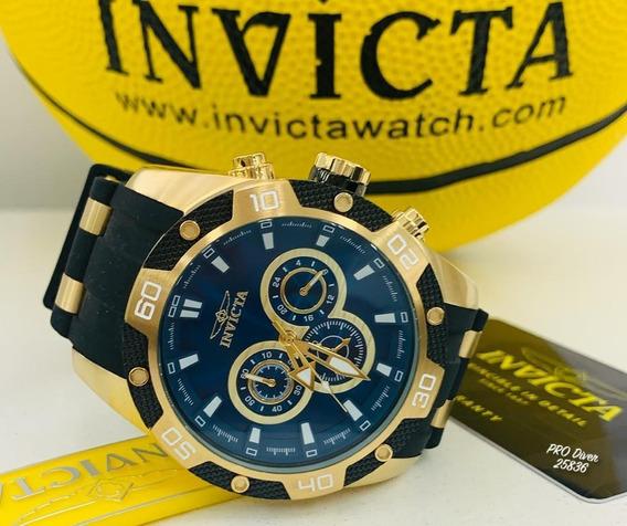 Relógio Invicta 25836 Dourado 18k Azul Borracha ** Pro Diver