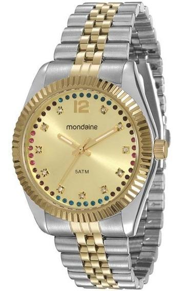 Relógio Feminino Mondaine Cintilante Dourado Á Prova D