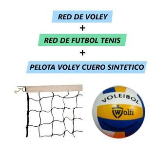 Combo Red De Voley + Red De Futbol Tenis + Pelota Sintetico