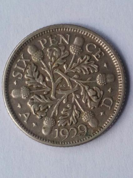 Six Pence 1929 Plata Reino Unido
