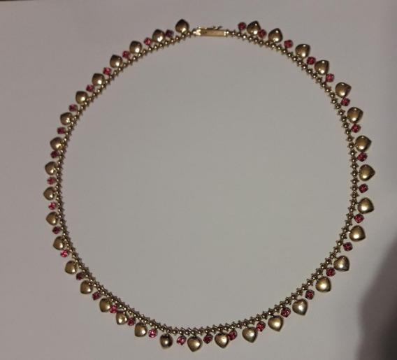 Colar Corações E Pedras Ouro 18k Comp.47cm Peso 18,98 Gramas