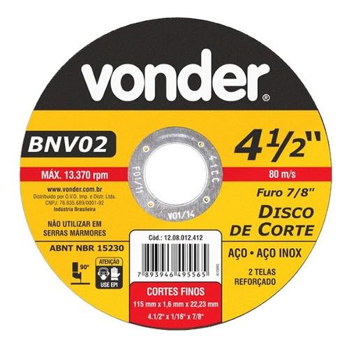 Disco De Corte Ferro Inox Vonder Bnv02 Esmerilhadeira 10 Pçs