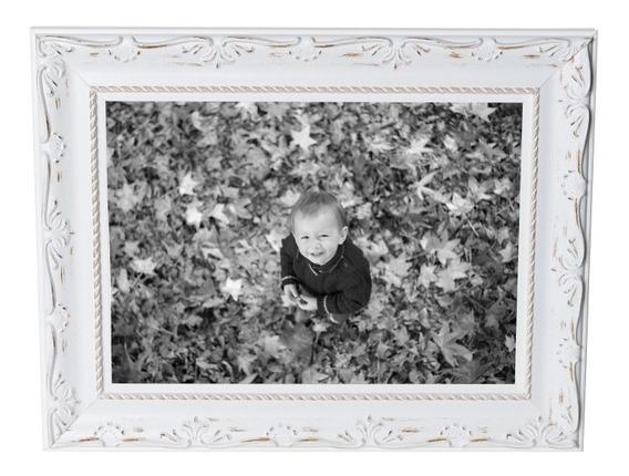 Porta Retrato 13x18 Ou 15x21 Retrô Vintage Branco Madeira