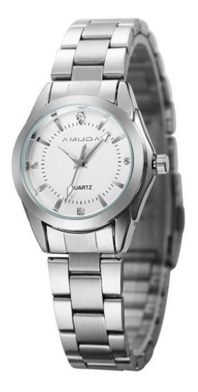 Relógio Luxo Feminino Amuda Prata Fundo Rosa 2038
