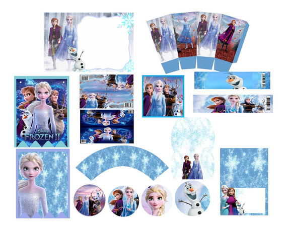 Kit Editable Cumpleaños Fiesta Frozen 2