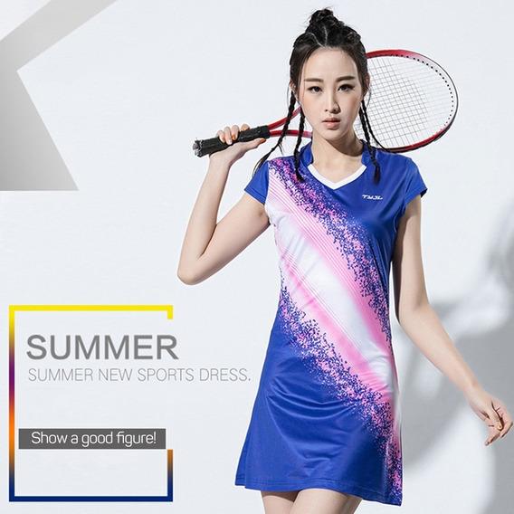 Deportes Vestido Bádminton Ropa Corta Manga Tenis Vestido Co