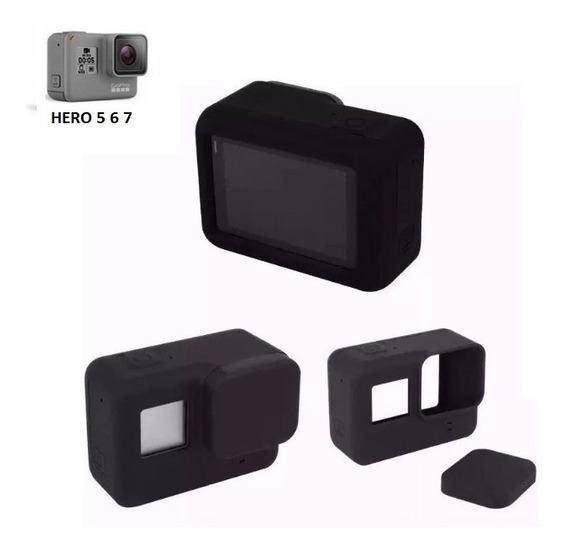 Capa Case Protetora Silicone Gopro Hero 5 6 Black Cor Preta